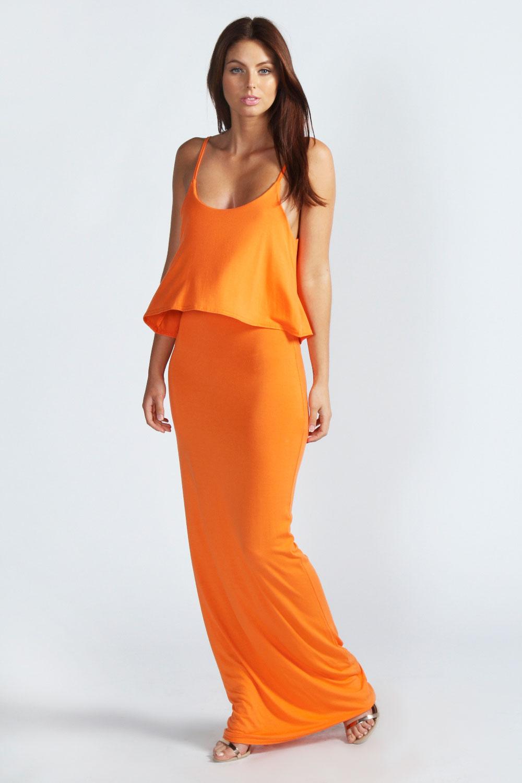 Boohoo Polly Strappy Frill Top Maxi Dress   eBay