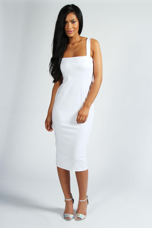 Boohoo Jen Square Neck Bodycon Midi Dress   eBay