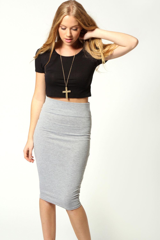 Boohoo Womens Ladies Maddie Jersey Midi Length Tube Skirt