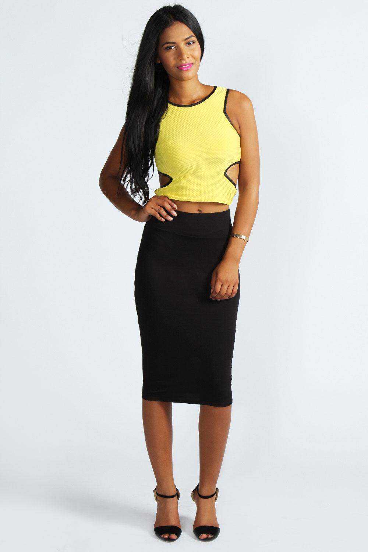 Boohoo Womens Ladies Maddie Jersey Midi Length Tube Skirt | eBay