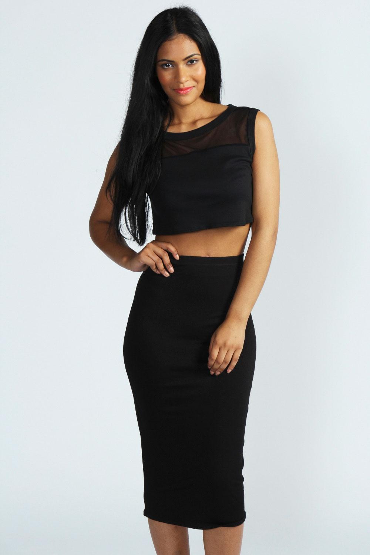 Boohoo Alexis High Waist Midi Jersey Tube Skirt | eBay