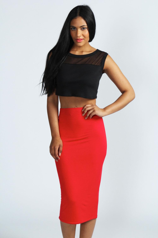 boohoo high waist midi jersey skirt ebay