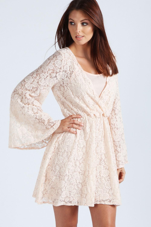 Boohoo Ellen Lace Wrap Front Kimono Sleeve Short Dress