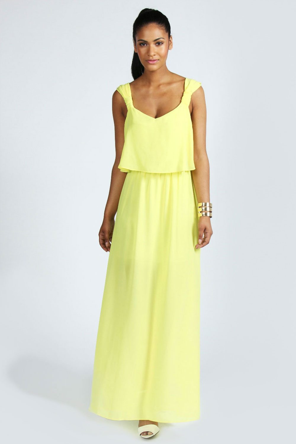 Boohoo Tessa Strap Detail Double Layer Maxi Chiffon Dress