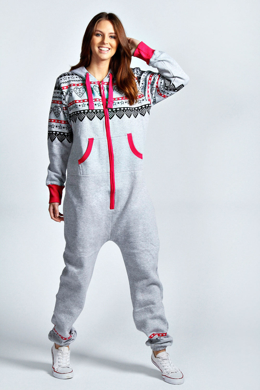 The adult onesies modeled by women are women's sizes, but men can wear them too! The model pictured below is 5' 9