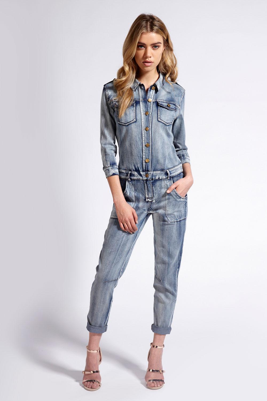 Boohoo Boutique Sarah Bleach Jumpsuit In Denim | EBay