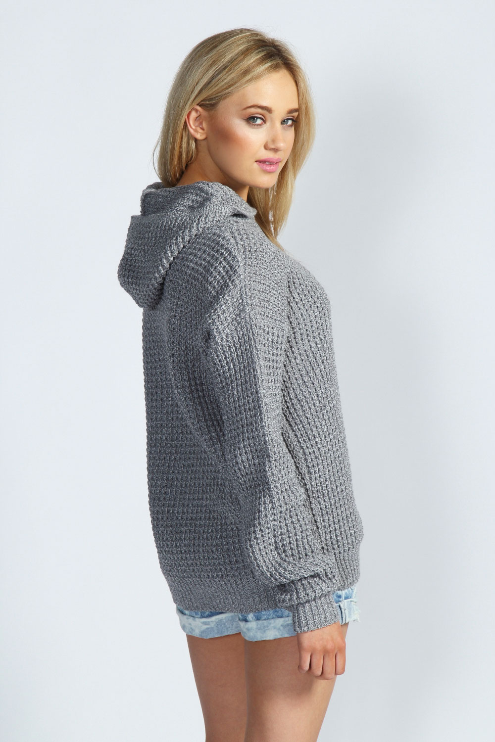 boohoo sasha waffel stricken marl pullover mit kapuze ebay. Black Bedroom Furniture Sets. Home Design Ideas