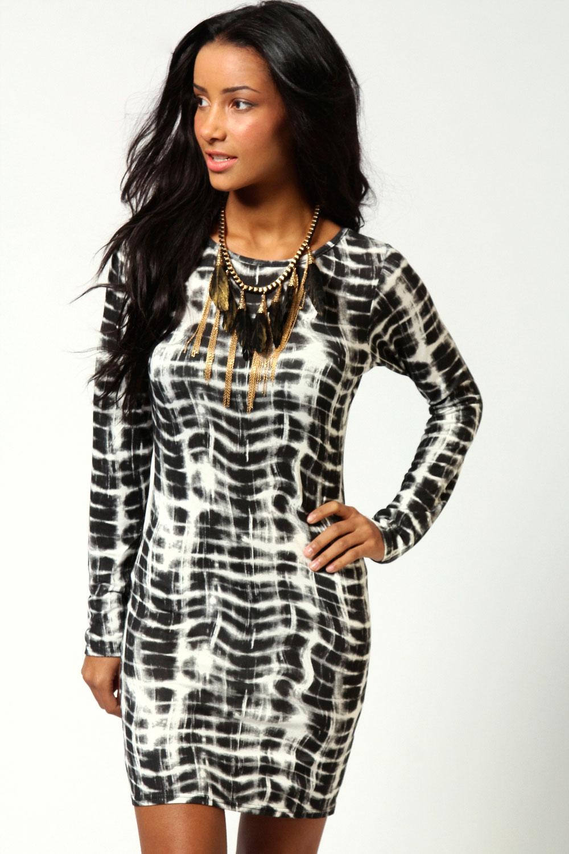 Boohoo-Womens-Ladies-Kate-Smudge-Print-Long-Sleeve-Bodycon-Dress