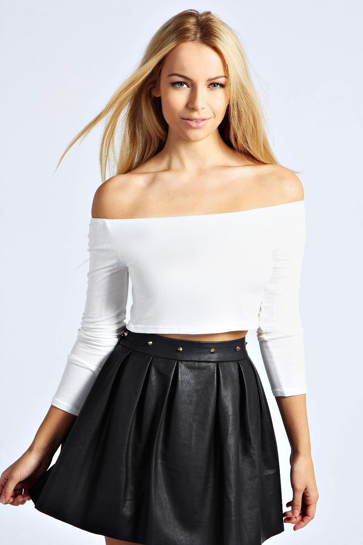 Boohoo-Womens-Ladies-Addison-Long-Sleeve-Stretch-Bardot-Top