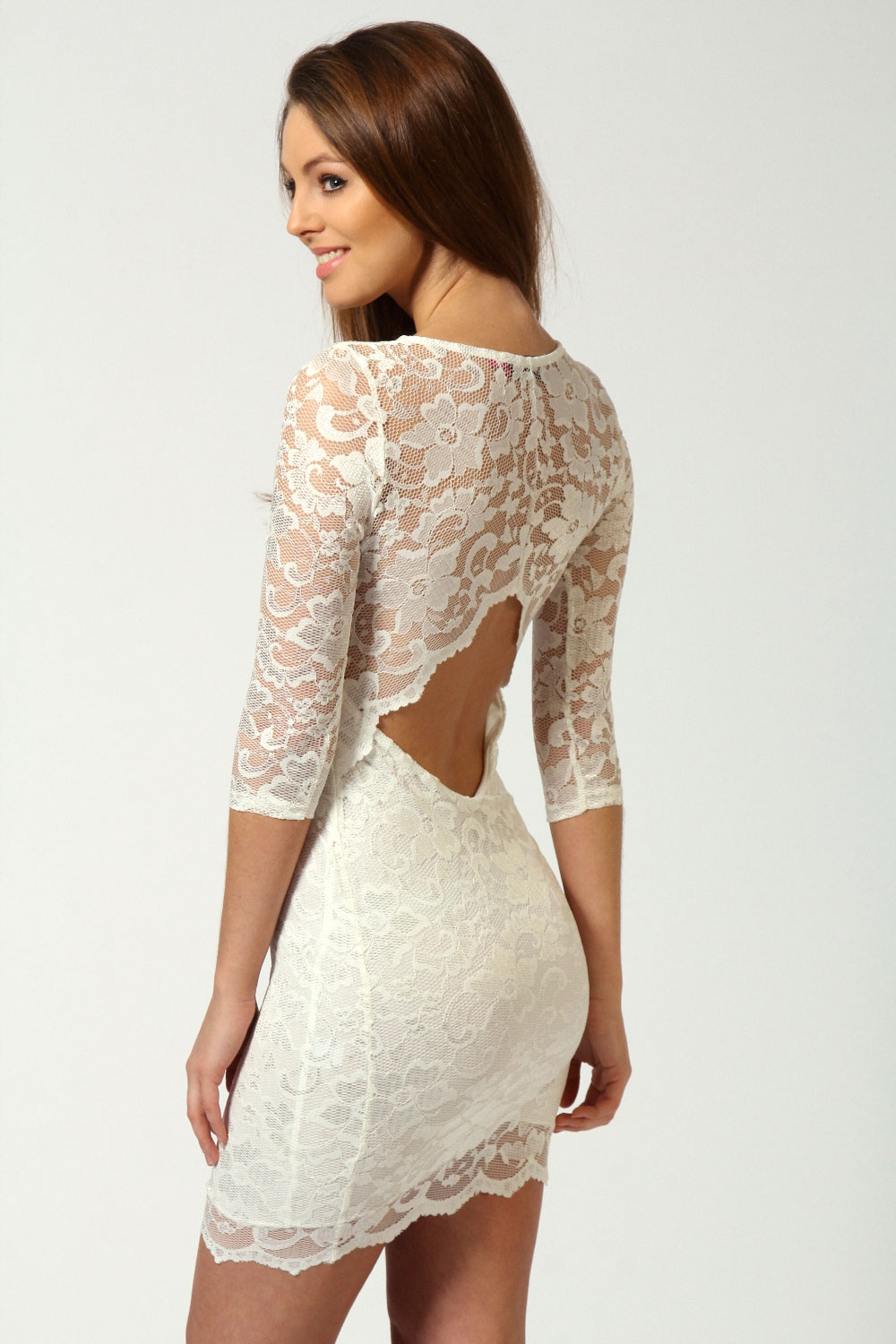 Boohoo Womens Ladies Nina Scallop Detail Open Back Lace