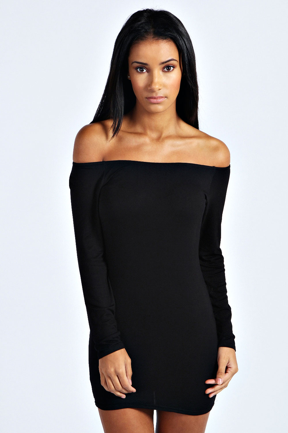 Boohoo-Womens-Ladies-Alice-Off-The-Shoulder-Long-Sleeve-Bodycon-Dress