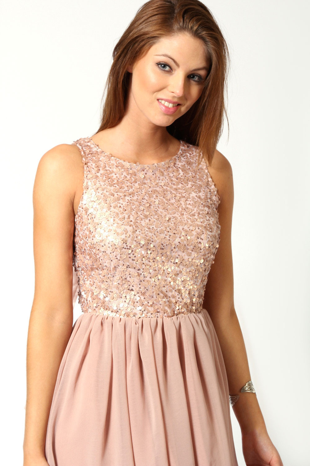 Boohoo Jess Sleeveless Sequin Top Open Back Chiffon Dip
