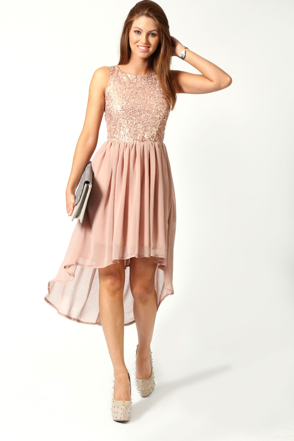 boohoo jess sleeveless sequin top open back chiffon dip hem dress in blush ebay. Black Bedroom Furniture Sets. Home Design Ideas