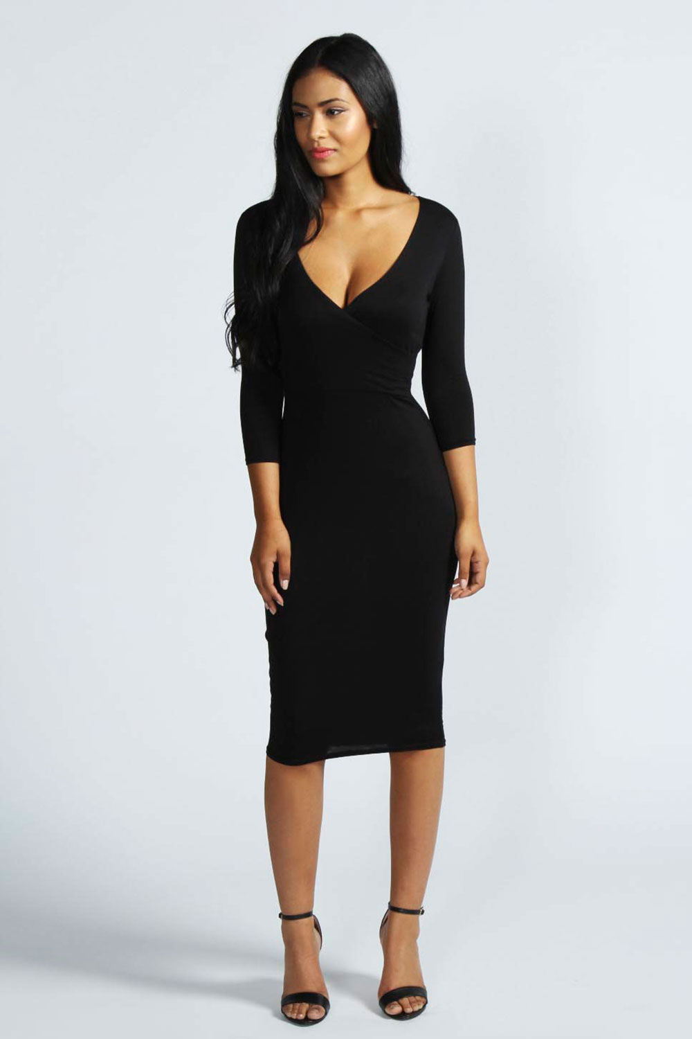 Boohoo-Womens-Ladies-Laura-Midi-Knee-Length-Wrap-Dress