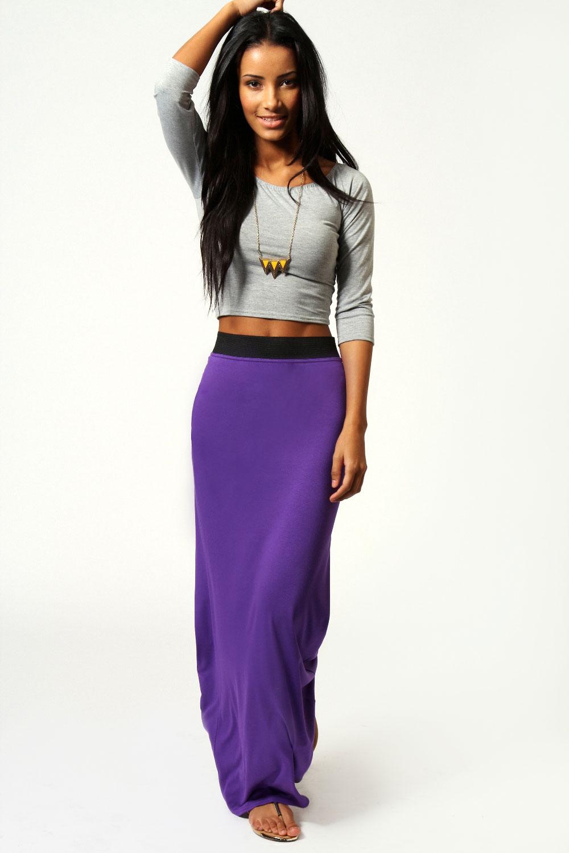 Boohoo-Womens-Ladies-Helena-Contrast-Waistband-Jersey-Maxi-Skirt