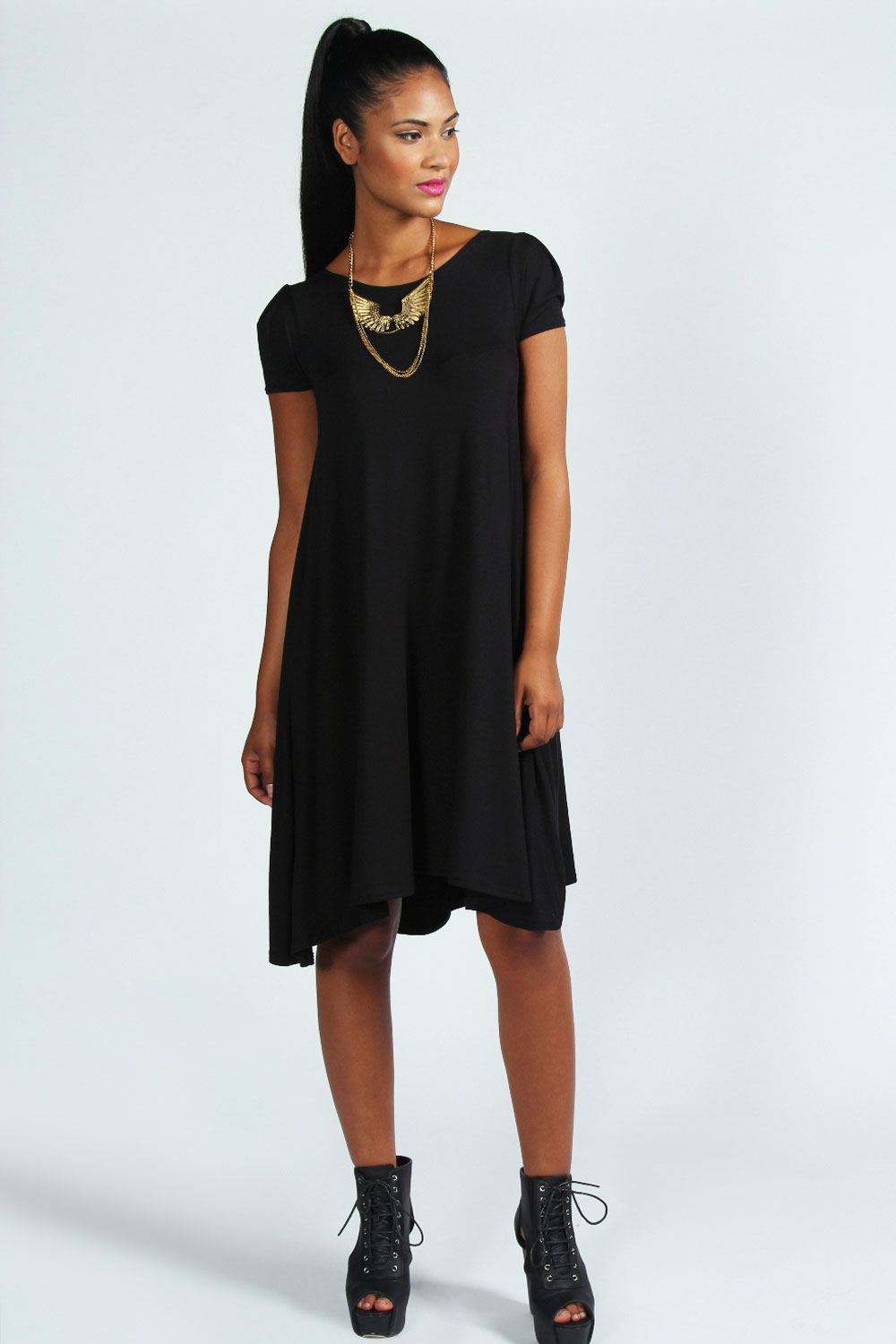 Boohoo Womens Ladies Selma Cap Sleeve Jersey Swing Dress | EBay