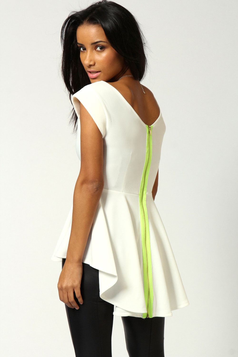 Boohoo-Womens-Ladies-Maria-Neon-Zip-Back-Peplum-Top