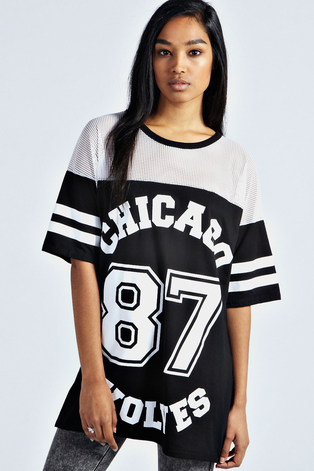 boohoo sasha chicago wolves oversized baseball tee top. Black Bedroom Furniture Sets. Home Design Ideas