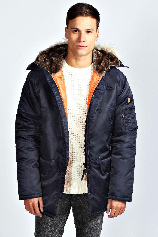 Mens jacket lined with fur - Boohoo Mens Fur Trim Lined Parka Jacket