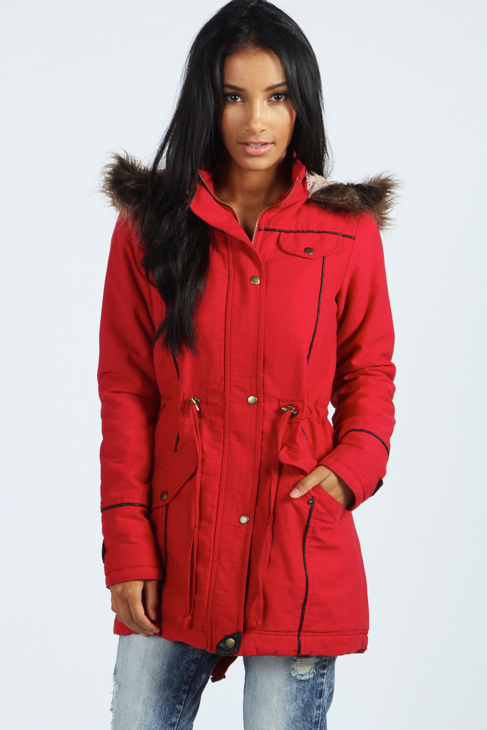 Boohoo Womens Ladies Alia Pu Fur Trim Parka Jacket | eBay