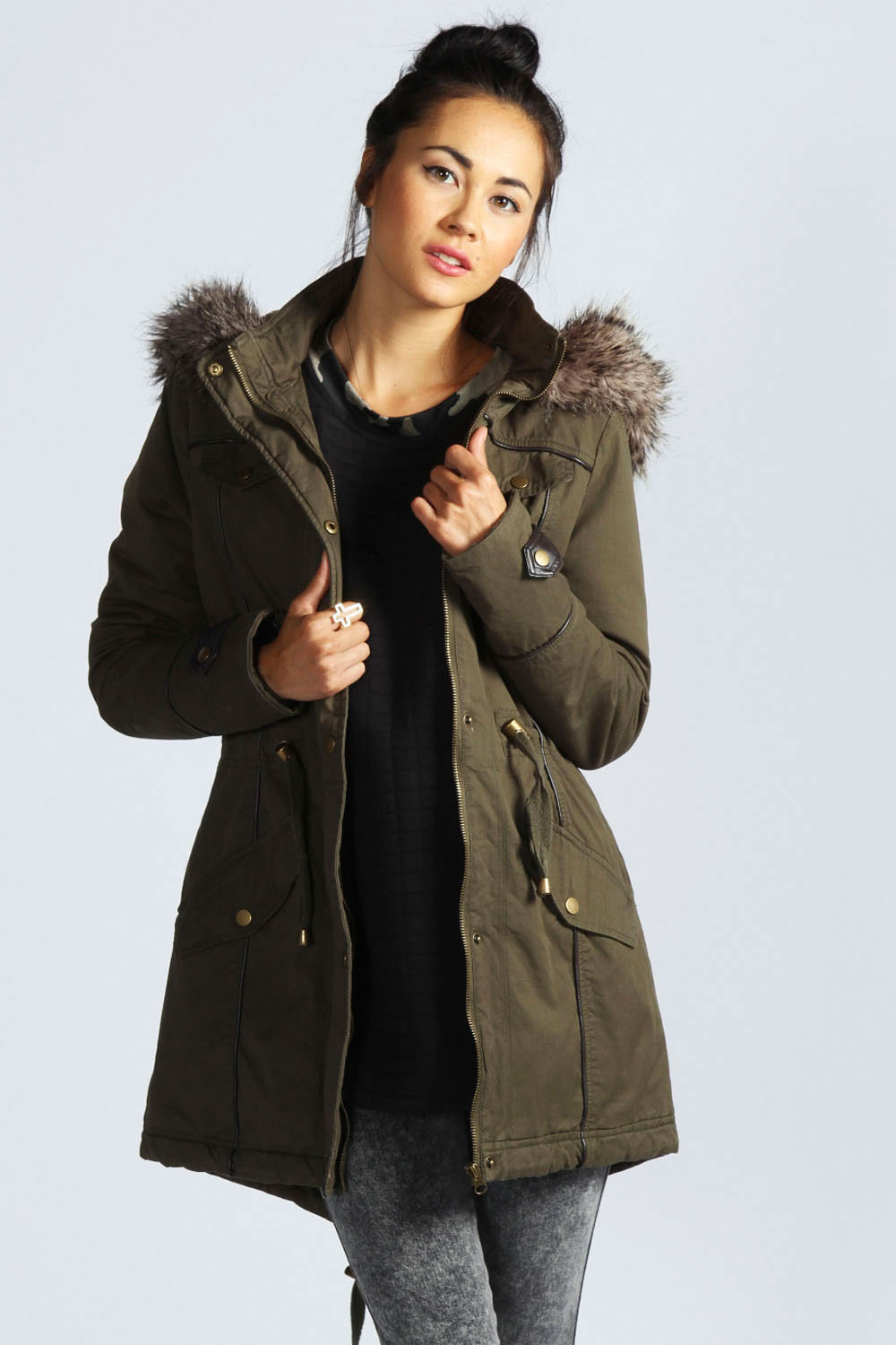 Womens Khaki Parka Jacket - Coat Nj