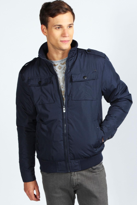 boohoo mens nylon chest pocket bomber jacket in navy blue