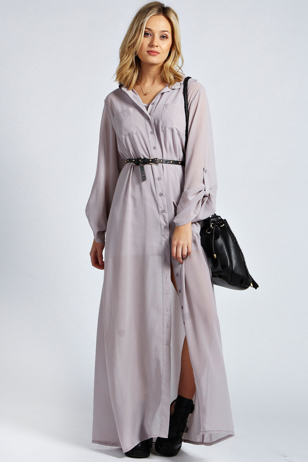 Boohoo Womens Ladies Una Long Sleeve Maxi Chiffon Shirt Dress | eBay: www.ebay.co.uk/itm/Boohoo-Womens-Ladies-Una-Long-Sleeve-Maxi...