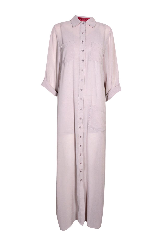 Boohoo Womens Ladies Una Long Sleeve Maxi Chiffon Shirt Dress