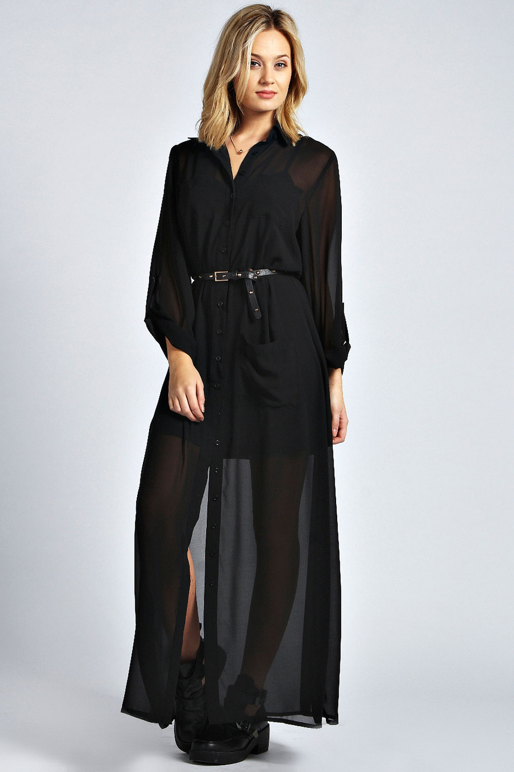 Beautiful Dress Women Casual Shirt Dress Loose Long Sleeve Chiffon Dresses