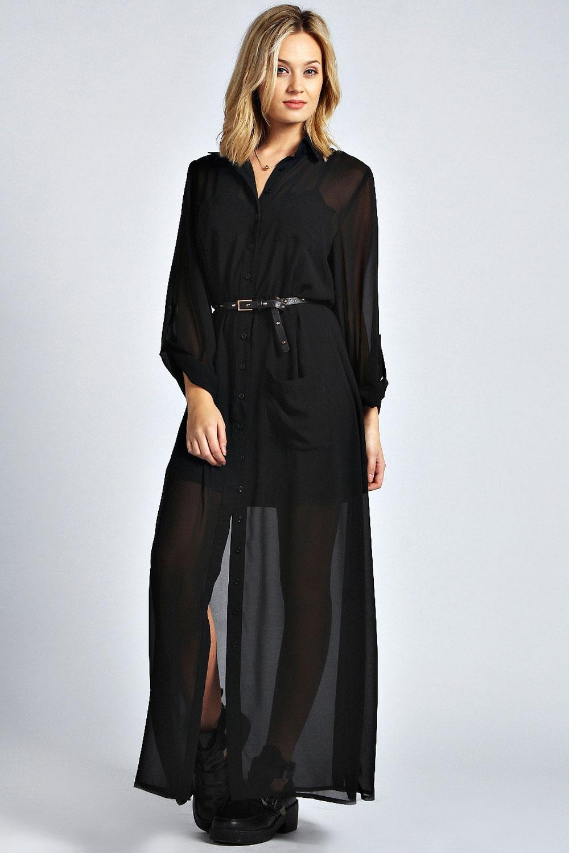 Boohoo Womens Ladies Una Long Sleeve Maxi Chiffon Shirt
