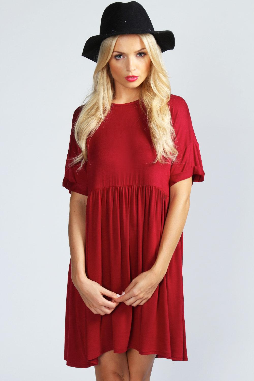 Boohoo-Womens-Ladies-Ruby-Oversized-Short-Sleeve-Smock-Dress