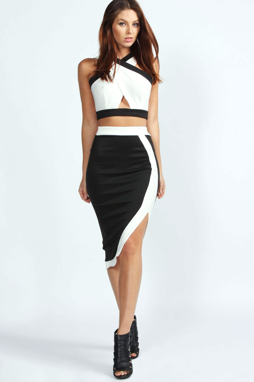 boohoo libby monochrome panel midi skirt ebay