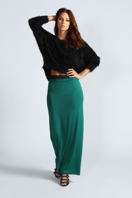 boohoo womens contrast waistband maxi skirt