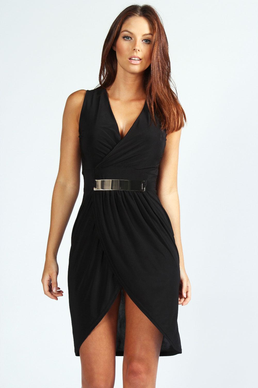 boohoo womens roberta statement belt slinky wrap dress