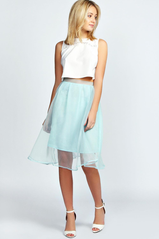 boohoo organza overlay pastel midi skirt in mint ebay