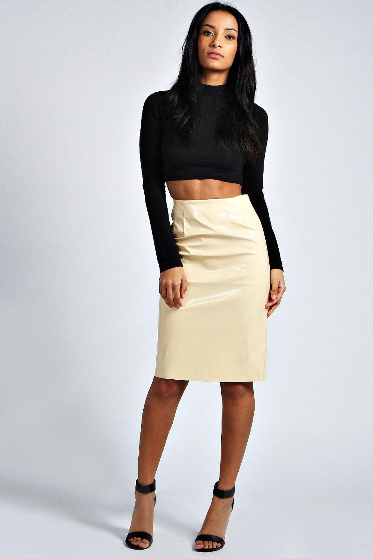 boohoo womens patent high shine midi skirt
