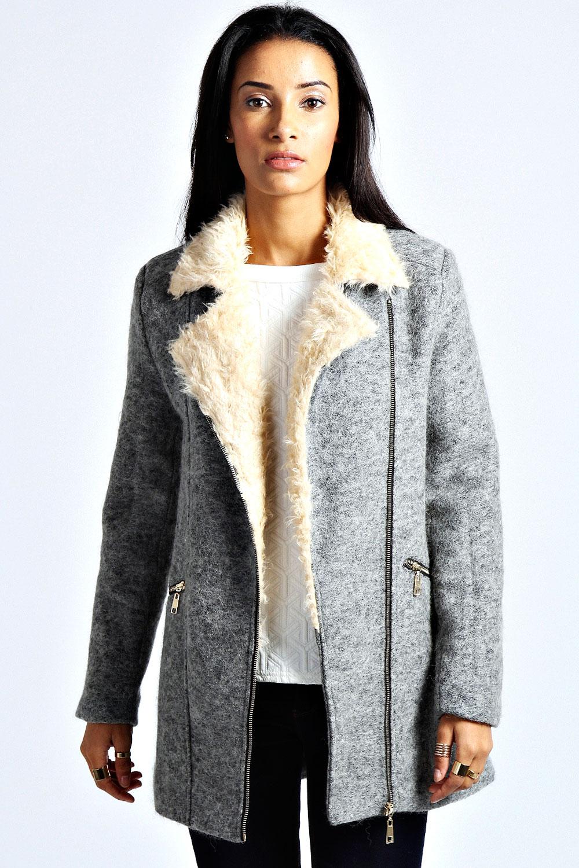 Boohoo Womens Ladies Emma Shearling Collar Wool Coat | eBay