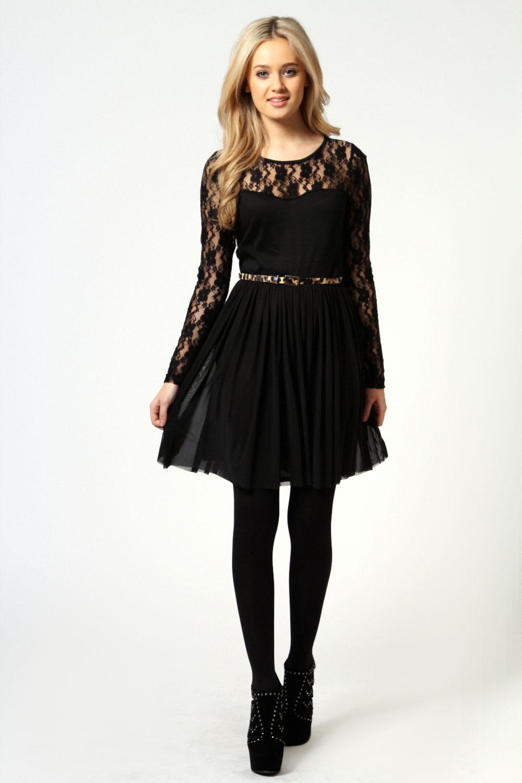 black lace skater dress long sleeves