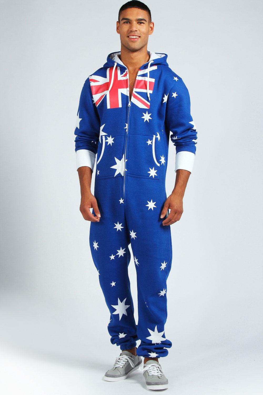 Boohoo australian flag hooded onesie in blue ebay for Mens dress shirt onesie