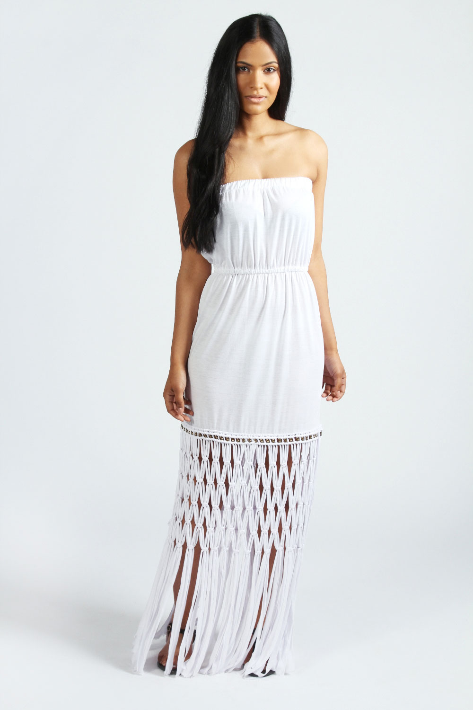 boohoo iyana tassel and beaded hem bandeau maxi dress ebay