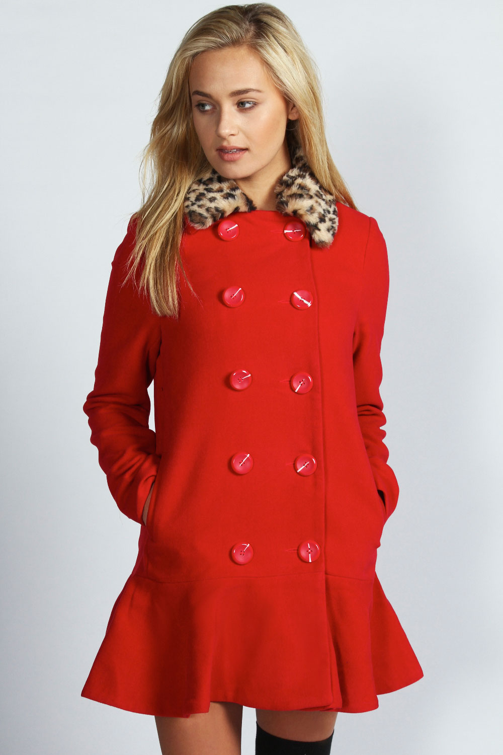 Boohoo Aimee Peplum Hem Detachable Leopard Fur Collar Coat In Red