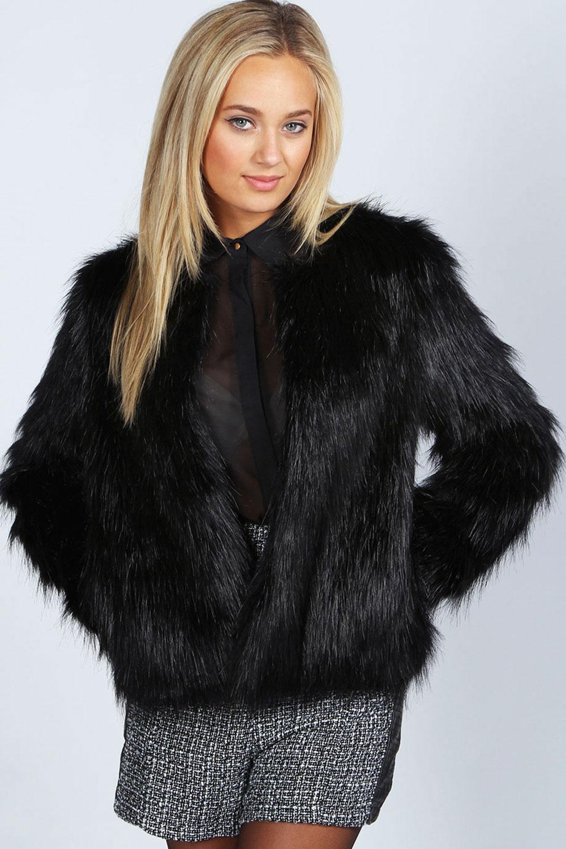 Boohoo rachel black edge to edge faux fur coat in black ebay for Lack fur kuchenschranke