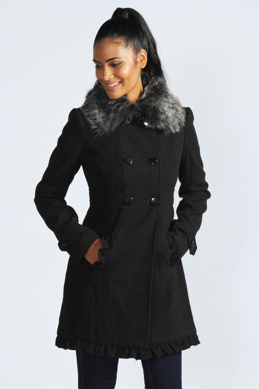 Boohoo Julie Heart Button Faux Fur Collar Coat | eBay