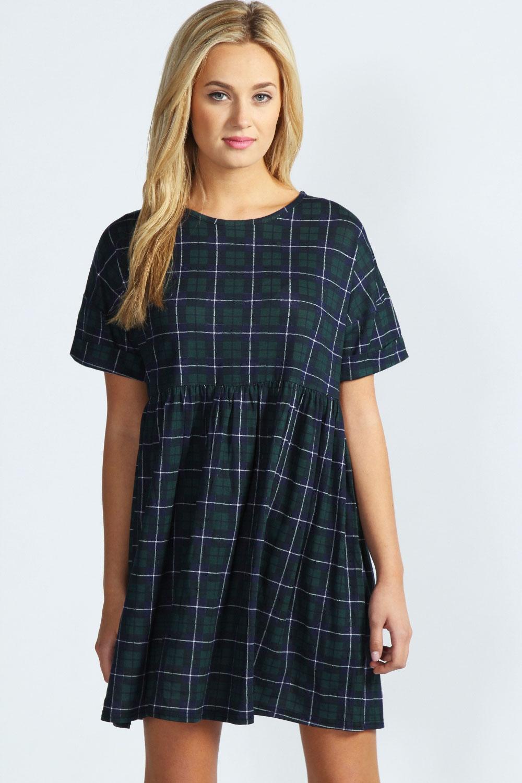 Boohoo-Kate-Tartan-Oversized-Smock-Dress-In-Multi