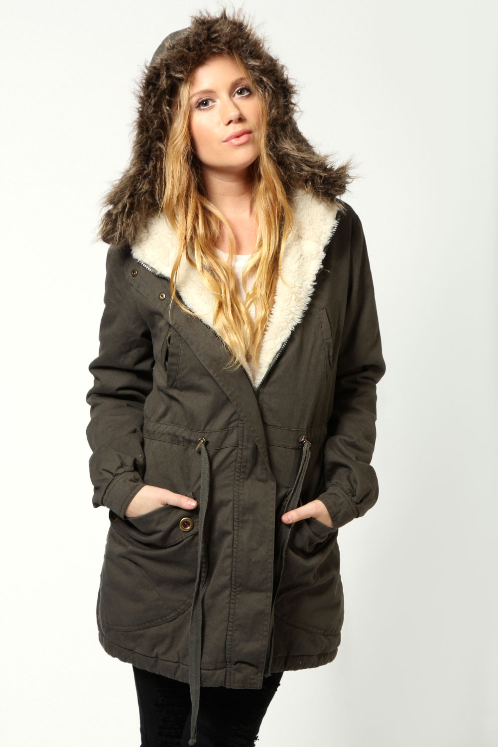 Boohoo Womens Ladies Emily Parka With Fur Hood Jacket | EBay