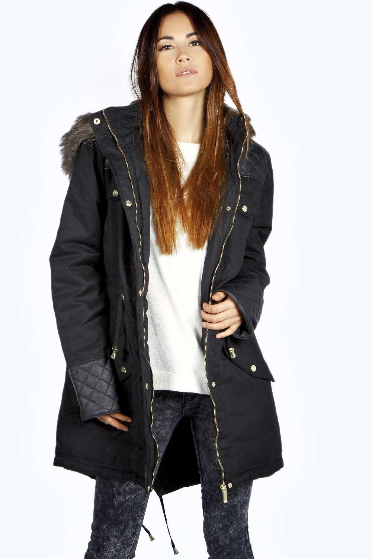 Boohoo Womens Inaya Long Sleeve Hip Length Quilted Pu Parka Jacket ...