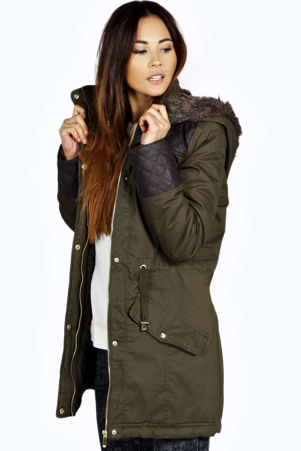 Boohoo Womens Inaya Long Sleeve Hip Length Quilted Pu Parka Jacket ...
