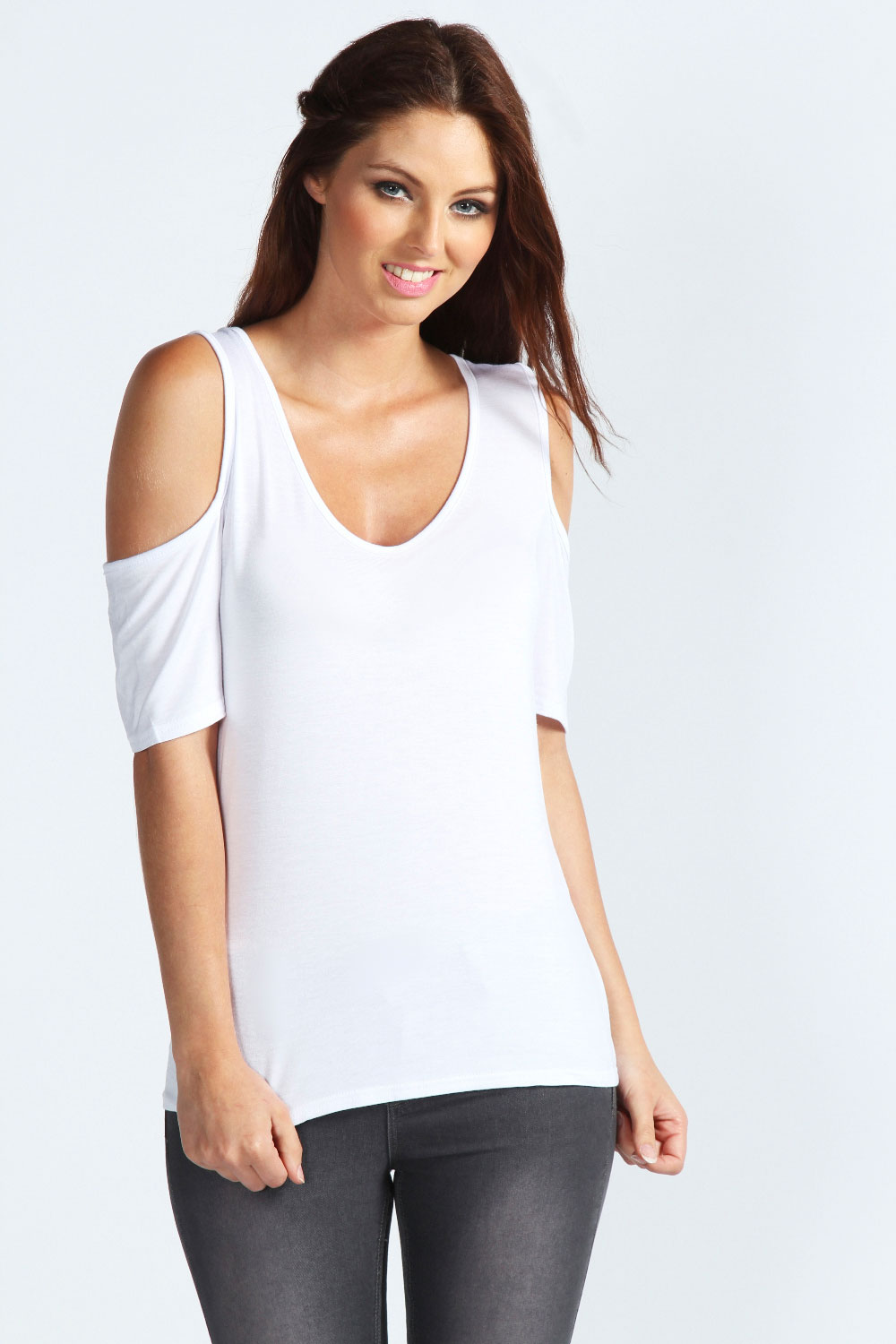 boohoo womens ladies carly cold shoulder v neck top t