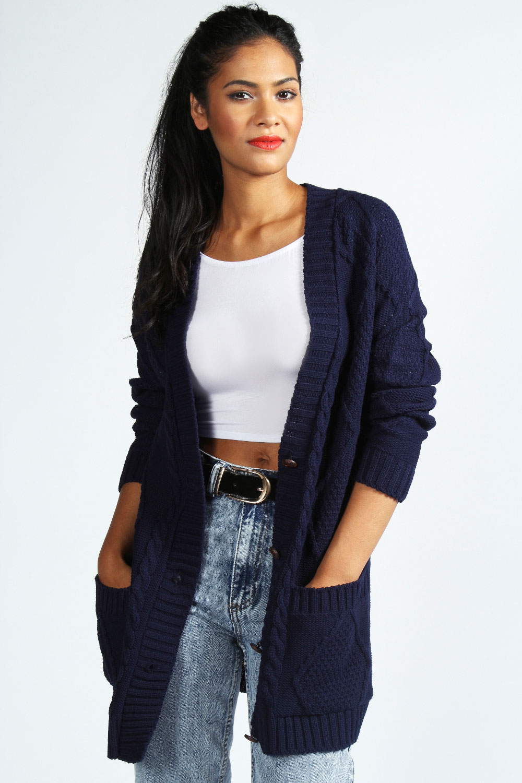Boohoo Katie Chunky Cable Knit Cardigan | eBay
