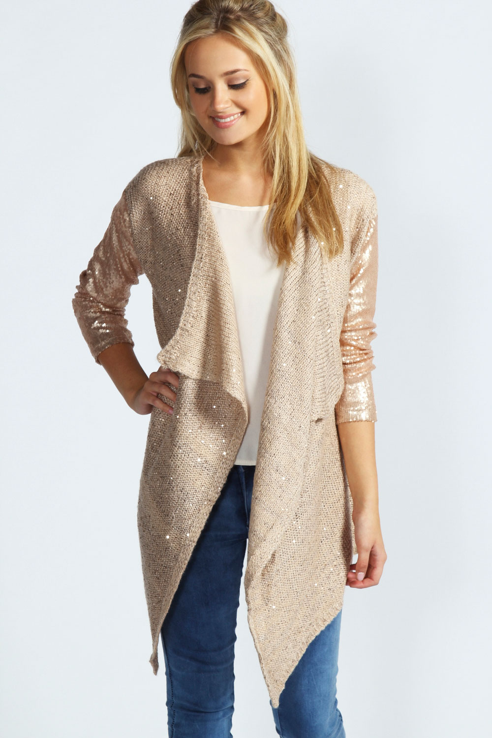 Boohoo Harper Sequin Sleeve Knit Cardigan In Beige | eBay